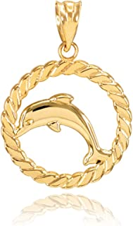 14k Two-tone Gold Nautical Charm Pendant Double Dolphins 2-D /& High Polish
