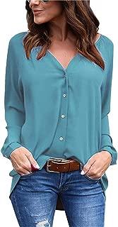 Jojckmen Women V Neck Long Sleeve Button Chiffon Top Solid Loose Spring Autumn Blouse
