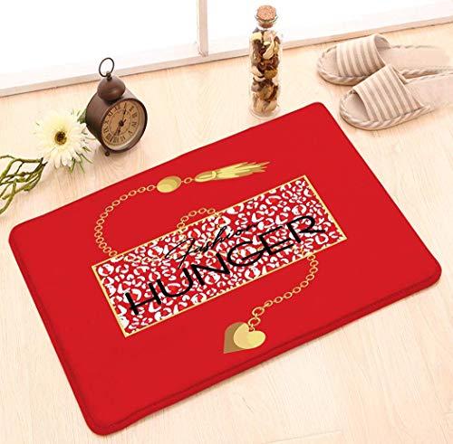 Amanda Walter rutschfeste Fußmatte Inneneingang Teppich Dekor Matte (23.6 'X15.7') Mode Hunger Slogan Tier Rot Leopard Spots Goldkette Halskette Kleid