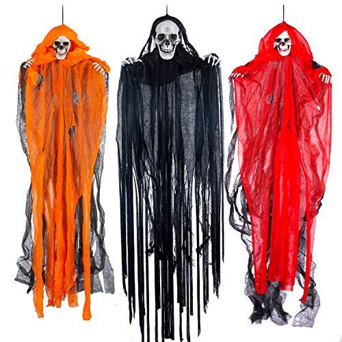 "Halloween Hanging Grim Reapers (3 Pack), One 35.4"" and Two 27.6"" Halloween Grim Reapers, Halloween Skeleton Flying Ghost for Haunted House Prop Décor, Halloween Outdoor Indoor Decor"