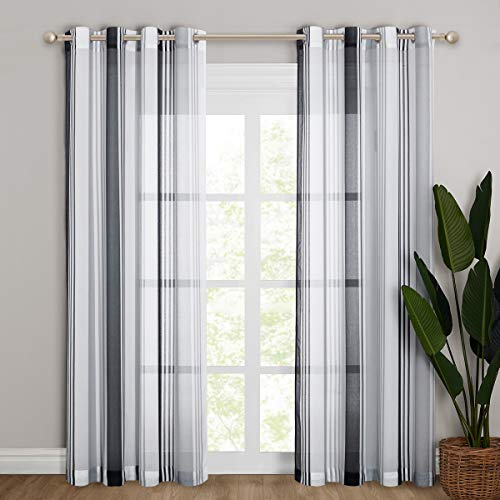 """Pony Dance Black and White Curtains for Living Room - Sheers Linen Look Natural Semi-Sheer Drapes Home Decor Elegant with Stripes Pattern, 55"""" x 87"""" Each Panel, 2 PCs"""