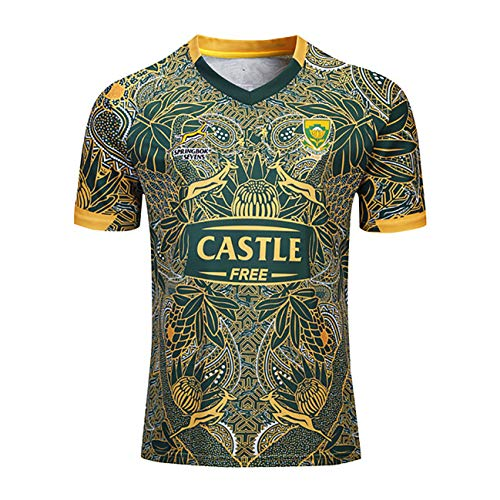 Mempire SudáFrica Rugby Jersey Camisas De Rugby para Hombres Ropa Deportiva De Ajuste Regular (Verde, XXL)