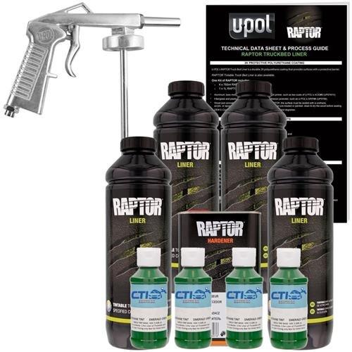 U-POL Raptor Emerald Green Urethane Spray-On Truck Bed Liner & Texture Coating W/Free Spray Gun, 4 Liters