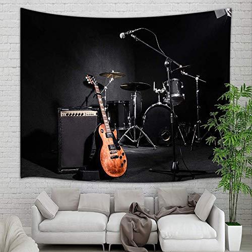 NYMB Tapiz musical para colgar en la pared, instrumentos musicales con tambor en color negro, tapiz de pared para decoración del hogar, recámara, sala de estar, recámara, colcha, 60 x 40 pulgadas