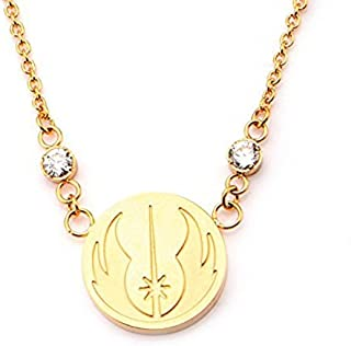 Star Wars Women's Stainless Steel Gold IP Jedi Symbol Pendant Necklace with Chain 20