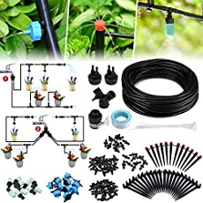 Jeteven 98Ft/30m Drip Irrigation Hydroponics Supplies System Drippers Kit Tubing Accessories DIY Saving Water Automatic Irrigation Equipment Set for Garden Greenhouse, Flower Bed, Patio, Lawn