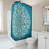 Gamoii Königsblau Duschvorhang Bad Vorhang Bedruckt Badewanne Vorhang Wasserdicht Duschvorhänge mit Duschvorhangringe White 150x180cm