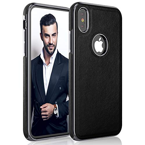 LOHASIC iPhone Xs Case, iPhone X Case Thin Slim Leather Luxury PU Soft Hybrid Bumper Defender Non-Slip Grip Shockproof Full Body Protective Phone Cover Cases for Apple iPhone X 10 Xs 5.8 inch - Black -  E9Xs-Black