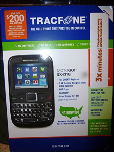 Motorola EX431G Prepaid Phone With Triple Minutes (Tracfone)
