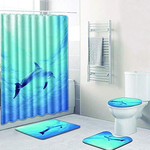 KEAINIDENI toiletmat S blauw oceaan anti-slip badmatten tapijt 3D 4 stks Dolfijn badkamer douchegordijn en tapijt sets 50x80 wc mat tapijt voetkussens Gift 50x80 40x50 35x45 9305