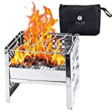 YOLER Camping Stove with Carrying Case, Backpacking Stoves Folding, Camping Grill, Outdoor Portable Cooking Equipment, Thickened Stainless Steel Wood fuel Burner for Hiking Picnic S