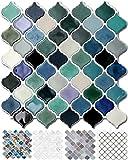 "STICKGOO 10-Sheet Teal Arabesque Tile Peel and Stick Backsplash, 12""X12"" Self Adhesive Wall Tiles, Stick on Backsplash for Kitchen & Bathroom (Pack of 10, Thicker Design)"