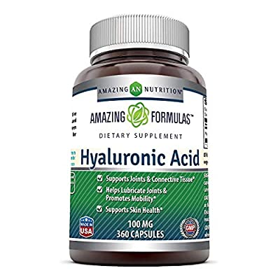 Amazing Formulas Hyaluronic Acid 100 mg Capsules - Support Healthy Connective Tissue and Joints - Promote Youthful Healthy Skin (360 Count)