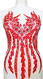 Lace Applique 3D Beaded Embroidered Floral Rhinestone Trim Great for DIY Neckline Bodice Wedding Bridal Prom Dress A11 (A11 Red)