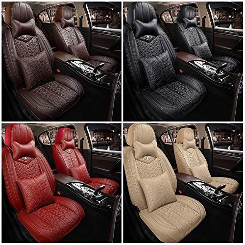 XKMY Accesorios de interior 1 juego de funda de asiento de coche transpirable de poliuretano para interior de coche (color: beige)