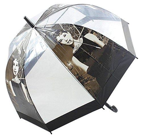 Retro Regenschirm Dome Form Griff Walking transparent 81 cm (Audrey)