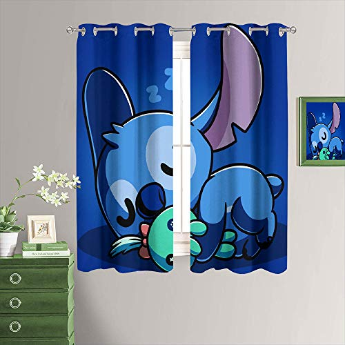 Grommet Curtains Lilo & Stitch Thermal Insulated Blackout Grommet Window Curtain for Living Room 63x72 Inch