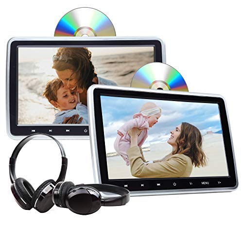 Play Movies YouTube LISIMKE 10.1 inch One Android Headrest Video Players with WiFi IPS Touch Screen 4K Sync Screen Tablets Phone Mirror Car Back Seat TV Monitors