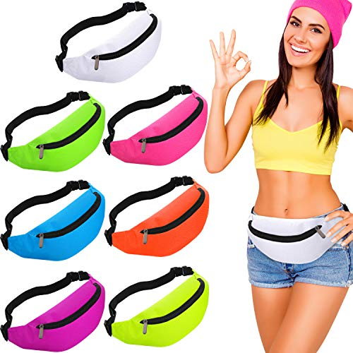 Weewooday 7 Pieces Neon Fanny Pack 80s Party Waist Bag Adjustable Waist 2 Zipper Travel Running Fanny Pack for Rave Party Women