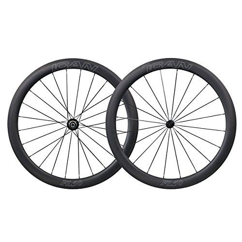 ICAN 700C Carbono Carretera Bicicleta Rueda 50mm Clincher Tubeless Listo con Buje de Cerámica del Cojinete
