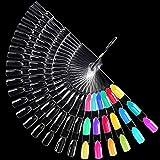 Nail Swatches Sticks, Morgles 50pcs 150 Tips Nail Display Sticks Transparent Nail Polish Sticks Fan-Shaped Nail Art Tips for Polish Display and Home DIY, 150 tips
