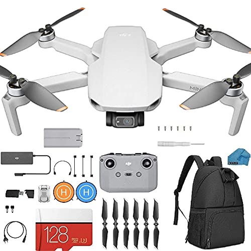 DJI Mini 2 – Ultralight and Foldable Drone Quadcopter, 3-Axis Gimbal with 4K Camera, 12MP Photo, 31 Mins Flight Time, Case, 128gb SD Card, Landing pad Kit with Must Have Accessories