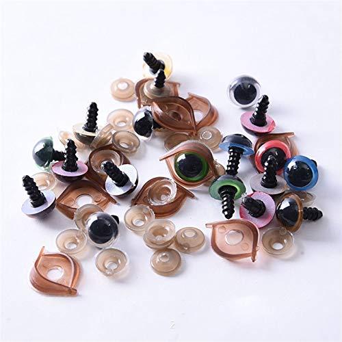 JCNVT 100 unids/Bolsa 12 mm / 14 mm Artesanía de plástico Eyes de Seguridad Ojos de muñeca Ojos de Caballo Animal Ojos Juguetes creativos para Amigurumi Ojos Coloridos para Juguetes de mu