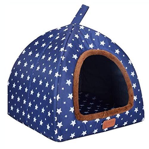 MCSHGPETY huisdier bed hond hondenhok winter houden warm wasbaar 4 seizoenen hond kennel indoor hondenhok blauwe sterren 4 grootte optioneel, XXL