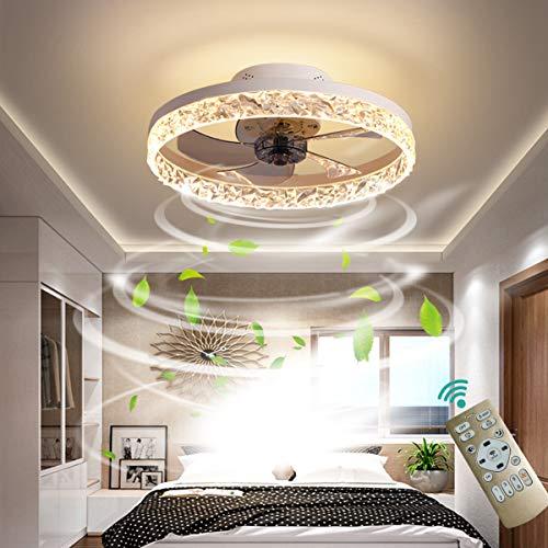 OMGPFR Deckenventilator mit Beleuchtung LED Licht, Luxus Kristall Deckenleuchte, Mit Fernbedienung dimmbar, Modern Ruhig Deckenventilatorlampe für Wohnzimmer Schlafzimmer, Wendbarer Lüfter,Weiß