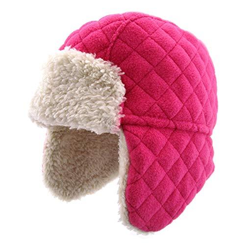 Ommda Wintermütze Baby Mädchen Beanie Ohrenklappen Kinder Russisch Hut Fellmütze mit Kunstfell für Winter Rose B 6-12 Monate