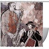 Duschvorhang mit Trompeten-Instrumenten, Kunstmalerei, Heimtextilien, Badezimmer-Dekoration, gemütlich, reizend, eigenartiges Design, mit Haken, 152,4 x 182,9 cm