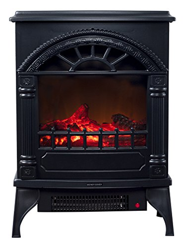 """Northwest 80-WSD012 Electric Fireplace-Indoor Freestanding Space Heater with Faux Log and Flame Effect-Warm Classic Style for Bedroom, Living Room, (L) 10""""x (W) 16.5""""x (H) 21.5"""", Black"""