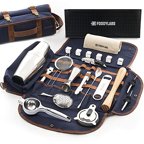 Travel Mixology Bartender Kit   24 Pieces Deluxe Barware Tool Sets with Cocktail Shaker   Portable Bar Tools Bartender Tool Kit in Foldable Canvas Bag...