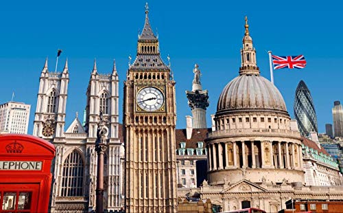 OAEC Puzzle 500 Teile Jigsaw Puzzle DIY Klassisches Holzpuzzles Londoner Glockenturm Unter Blauem Himmel Puzzle Für Erwachsene Kinder Lernspiel Festival Geschenk 38X52Cm
