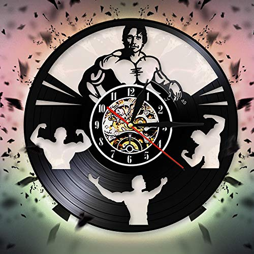 FDGFDG Bodybuilding Art Reloj de Pared Decorativo Crossfit Decor Gym Vinyl Record Reloj de Pared Decoración de Pared para Gym Club Regalo Hecho a Mano para Hombres