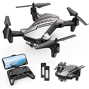 DEERC D20 Mini Drone for Kids with 720P HD FPV Camera Remote Control Toys Gifts for Boys Girls with Altitude Hold Headless Mode One Key Start Speed Adjustment 3D Flips 2 Batteries Silver