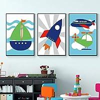 キャンバス絵画かわいい漫画車両壁アートカラフルなビンテージポスタープリントキッズルーム保育園の家の装飾モダンな写真70x100cmx3フレームレス