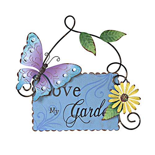 Morning View Vintage Metal Love My Garden Sign with Butterfly Daisy and Leaf, Decorative Hanging Welcome Plaque for Garden Patio Porch Yard Wall Outdoor Decor
