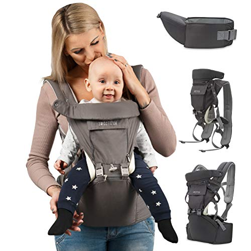 Sweety Fox - Portabebes Ergonómico y Asiento de Cadera - Para Bebes y Niños de 3 a 36 meses - Algodón y tejido de punto Transpirable con Relleno - Confort y Seguridad con Cinturones
