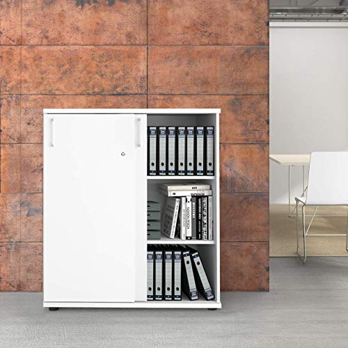 Uni archiefkast afsluitbaar 3OH 1,0 M wit bureaukast schuifdeurkast