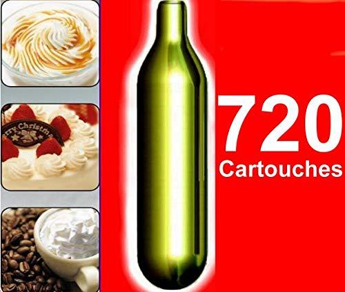 NEMT Lot de 720 Capsules N2O Crème pour cuvettes Siphon de Liss, Mosa, Isi et Kayser, Mastrad (720)