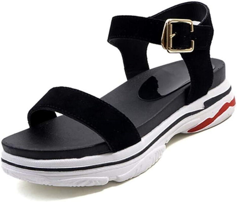 IWlxz Women's Suede Cowhide Summer Sandals Flat Heel Black
