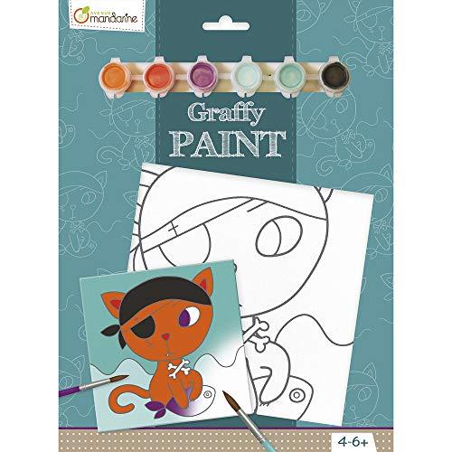 Avenue Mandarine PP011O - Un set Graffy paint comprenant un tableau 20x20 cm, un pinceau et 6 pots de peinture, Chat pirate