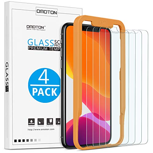 OMOTON [4 Stück] Schutzfolie kompatible mit iPhone 11 Pro/iPhone XS/iPhone X. Mit Positionierhilfe [9H Härte], [Anti-Kratzen], [Anti-Öl], [Anti-Bläschen].
