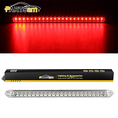 Partsam Submersible 17 Clear Lens Red 23 LED Trailer Truck RV Stop Turn Tail Rear 3rd Brake Identification Light Bar (Pack of 1)