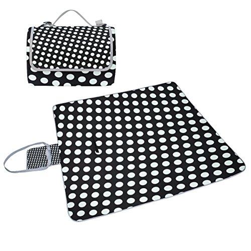 bennigiry lila schwarz Punkten Polka Dots Outdoor Picknick Decke Matte, extra großen faltbaren und wasserdicht Familie Camping Matte für Outdoor Beach Hiking Gras Reise, Multi#002, Einheitsgröße