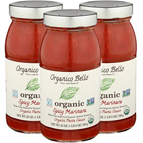 Organico Bello Pasta Sauce, Spicy Marinara, 25 Ounce (Pack Of 3)