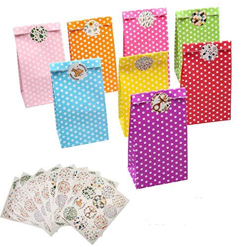 LAOYE 40 Papiertüten klein Geschenktüten Kindergeburtstag Mitgebsel Tüten 40 Stück Papier Geschenktüten Candy Tüten mit 120 Aufkleber bunt Tüten für Kindergeburtstag Hochzeit Ostertüten Candybag usw.