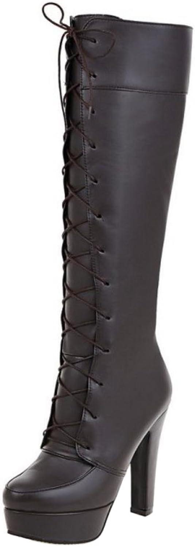 AicciAizzi Women Fashion Lace up Knee Boots Party shoes