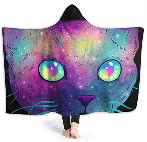 Dor675ser Hooded Blanket, Purple Cute Cat Hoodie Blanket Coral Plush Ultra Soft Plush Leisure Wear Hooded Throw Wrap 60 x 80 Inch Wearable Blanket with Hood